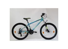 Bicicleta Sprint Active DD 26 2021 furca suspensie, turqoize matt/neon green 360mm
