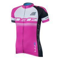 Bluza ciclism Force Lux dame maneci scurte roz L