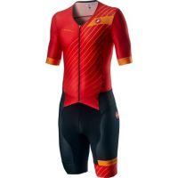 Costum Triatlon cu Maneca Scurta Castelli Free Sanremo SS Suit Negru/Rosu/Portocaliu L