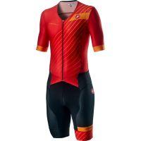Costum Triatlon cu Maneca Scurta Castelli Free Sanremo SS Suit Negru/Rosu/Portocaliu M