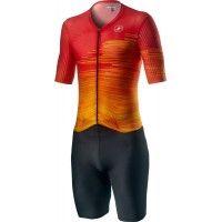 Costum Triatlon cu Maneca Scurta Castelli PR Speed Suit Negru/Rosu/Portocaliu L