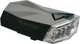 Lumini bicicleta BIKEFUN SQUARE fata 4 LED-uri albe, 3 functii, negru