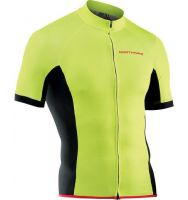 Tricou ciclism NORTHWAVE FORCE scurt fermoar lung, galben fluo, L