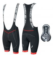 Pantaloni scurti cu bazon si bretele Force F FAME Negru/Rosu XL