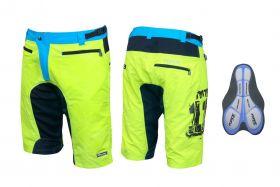 Pantaloni scurti Force MTB-11 cu interior detasabil galben fluo M