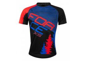 Tricou ciclism Force MTB X5, albastru/rosu, S